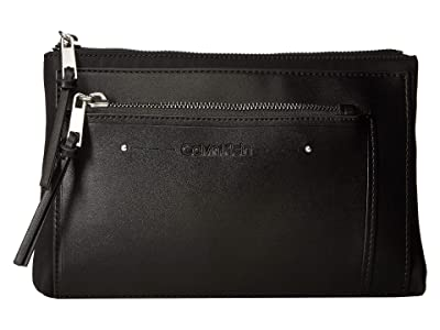 Calvin Klein Lane Nylon Belt Bag (Black/Silver) Handbags