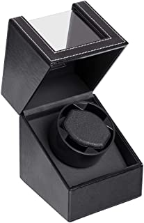 Automatic Single Watch Winder with Durable Watch Leather Pillow Stable PU+Wood Watch Turner Box Mabuchi Motor Watch Spinne...