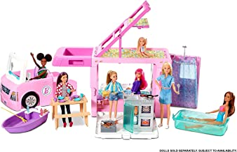 Barbie 3-in-1 DreamCamper Vehicle, approx. 3-ft, Transforming Camper with Pool, Truck, Boat and 50 Accessories, Makes a Great Gift for 3 to 7 Year Olds