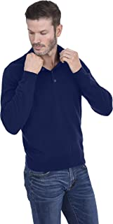 Men's Fashion Button Down Mock Neck Sweater Cashmere Wool Polo Collar Long Sleeve Pullover