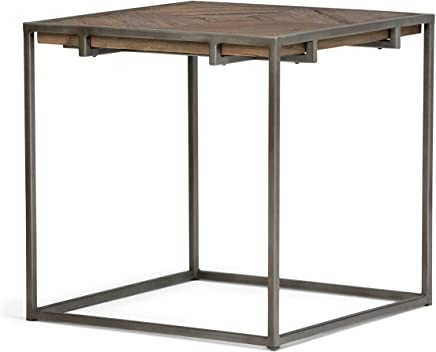 Simpli Home AXCAVY-02 Avery Solid Aged Elm Wood and Metal 20 inch wide Square Modern Industrial End Side Table in Distressed Java Brown Wood Inlay
