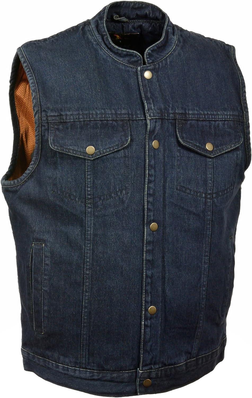 Milwaukee Leather Men's Snap Front Denim Club Style Vest w/Gun Pocket (Black,)
