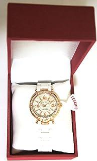 Anne Klein - Reloj de pulsera para mujer con bisel dorado de cerámica blanca