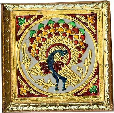 CraftMania Pooja Meenakari Chowki Premium Quality Pooja Chowki Gold Meenakari Chowki Bajot chaurang Puja Minakari Choki Indian Pooja diwali gift-5x5x2 Inches