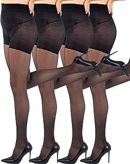 Sibinulo Femme Bas Autofixants 1-3 paires 20 den Noir