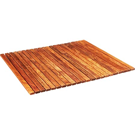 """Bare Decor Fuji String Spa Shower Mat in Solid Teak Wood Oiled Finish, 30"""" x 30"""", Brown"""