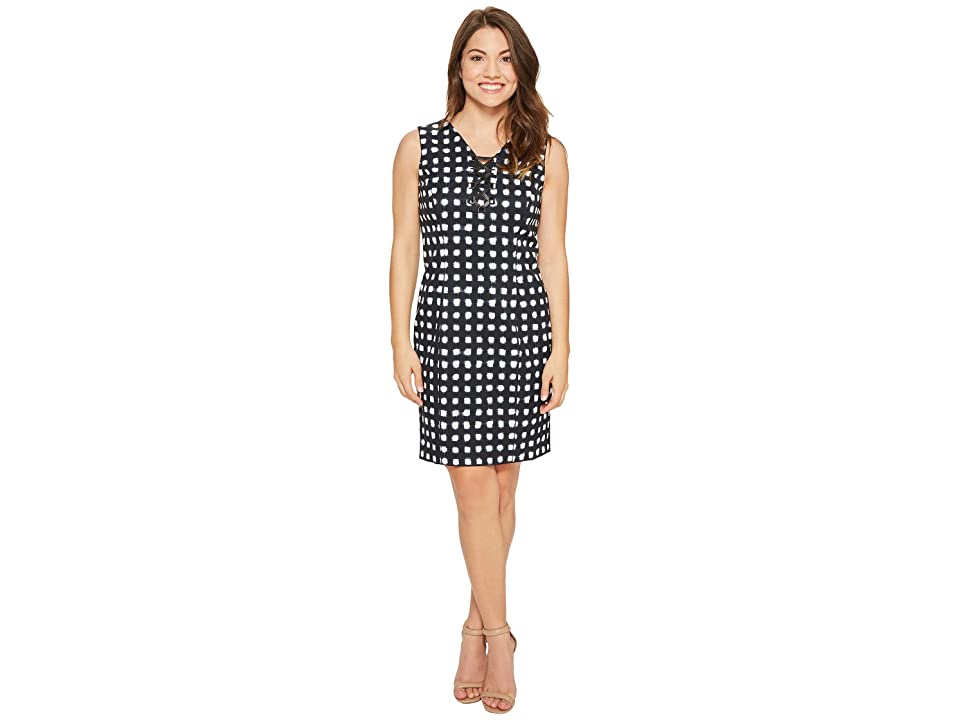 Tahari by ASL Petite Lace-Up Sheath Dress (Navy/White) Women