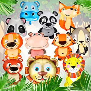 Skylety 11 Pieces 25 Inch Animal Foil Balloons Lion Bear Panda Hippo Tiger Beaver Forest Animal Aluminum Film Balloon for ...