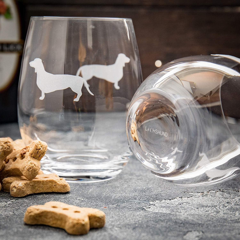 Set di 2 Greenline Goods Bicchieri da Vino Senza Stelo Chihuahua Amanti dei Cani /Inciso a Mano con Il Nome della Razza sul Fondo