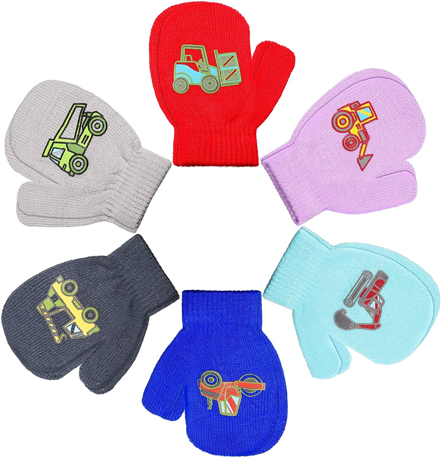 6 Pairs Kids Winter Stretch Gloves Infants Toddler Baby Knitted Mittens for 3-5 Year Old Boys