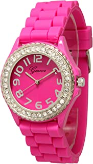 Fashion Watch Wholesale Geneva Silicone Watch Unisex Crystals Rhinestones Wrist Watch Medium Size Dial