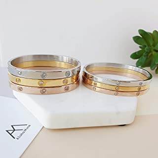 Simple screw Love Bracelet with crystal cz Love bangle Gold Silver Rose gold Simple band bangle cartier design