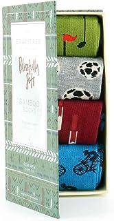 Mens Braintree 4 Pair Mortiz Sports Design Bamboo Sock Gift Box