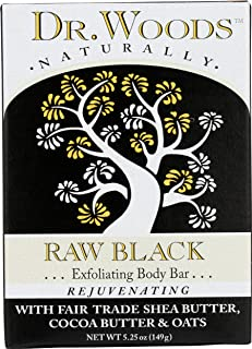 Dr. Woods Raw Black Rejuvenating Exfoliating Body Bar with Organic Shea Butter 5.25 Ounce