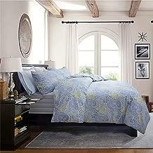 Softta Luxury Vintage Blue Bohemia Paisley King Size Bedding Set 4Pcs Duvet Cover + Fitted Sheets Set + 2 Pillowcases 100% Egyptian Long-Staple Cotton Four-Color Stripes B Version