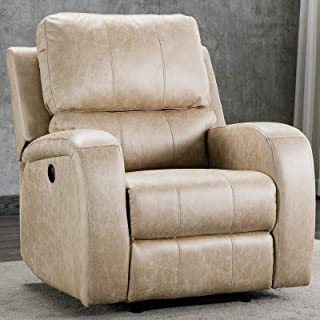 CANMOV Electric Power Recliner Chair with USB Charge Port, Overstuffed Breathable Fabric Living Room Chair Home Theater Seating, Buff