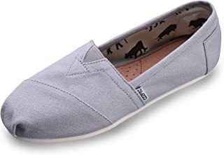 HSYZZY Women's Canvas Shoes Slip-on Ballet Flats Classic Casual Sneakers Daily Loafers Light Gray