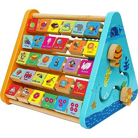 TOWO Centre activité bébé multijeux Montessori - Triangle activité en bois - Boulier, Alphabet , labyrinthe, Horloge - Cadeau enfants 5 en 1. Apprendre chiffre interactif Jouet bébé 1 an