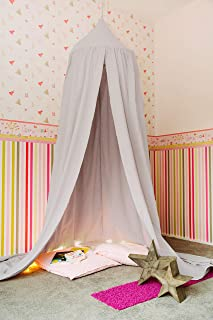 Betimmel Baldakin av 100 % bomull | ljusgrå | extra lång: 3 m (+50 cm) höjd x 2,6 m sömlängd x 50 cm omkrets tältspets | i...