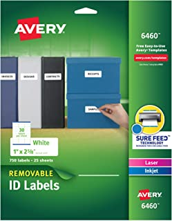 "Avery Multiuse Removable Labels with Sure Feed, 1"" x 2 5/8"", 750 White Labels (6460)"