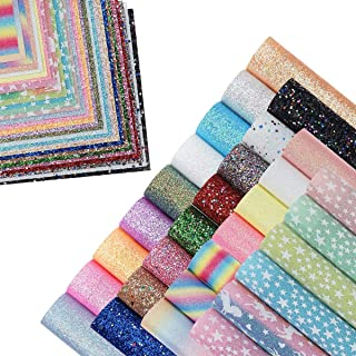 30 Pieces 8x6 Inch Chunky Glitter Faux Leather Sheets and Fine Glitter Leather Sheets for Leather Bows and Earrings Making