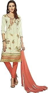 Manvaa Glaze Cotton Women'S Embroidered Dress Materials In Cream Color_Semi Stitched