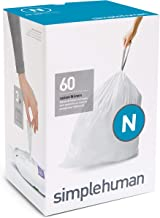 simplehuman Code N Custom Fit Liners, Extra Strong Trash Bags, 45-50 Liter / 12-13 Gallon, 3 Refill Packs (60 Count)