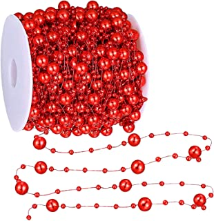 TURNMEON 66 Feet Christmas Beads Garland Decoration 2 Sizes Pearl Strands Chain for Christmas Tree Decoration Indoor Outdoor Home Mantle Fireplace Holiday Decor (Red)