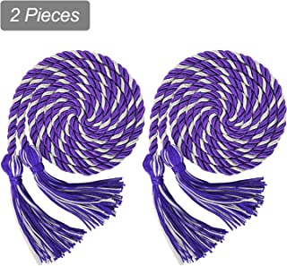 Makhry 2X 67 inches/170cm Handmade Graduation Honor Cord Tassel with Double Cord for Women/Kid Home Decor Tassels Wedding Favor (Purple&White)