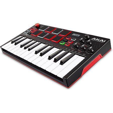 AKAI Professional MPK Mini Play - Mini teclado controlador MIDI USB completamente independiente, con parlante, pads MPC, efectos internos y software
