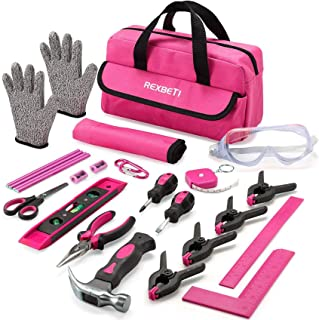 REXBETI 25-Piece Kids Tool Set with Real Hand Tools, Pink Durable Storage Bag, Children Learning...