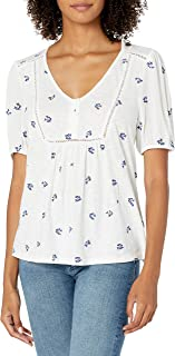 Lucky Brand Women's Short Sleeve V Neck Allover Embroidered Peasant Top