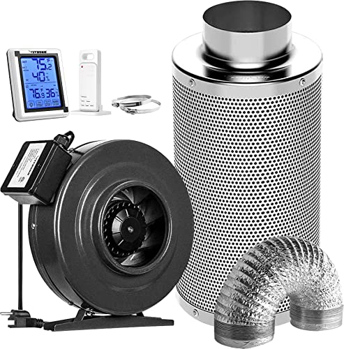 high quality VIVOSUN high quality Air Filtration Kit: 6 Inch 440 CFM Inline Fan, 6'' Carbon new arrival Filter and 16 Feet of Ducting Combo, Digital Hygrometer Thermometer Humidity Monitor online