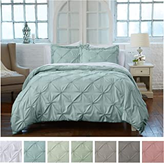 Signature Pinch Pleated Pintuck Duvet Cover 3 Piece Set with Button Closure. Luxuriously Soft 100% Brushed Microfiber with Textured Pintuck Pleats and Corner Ties (King, Ether Blue)