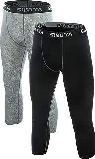 Siboya Men's Compression 3/4 Capri Shorts 2 Pack Baselayer Cool Dry Tights Running Pants