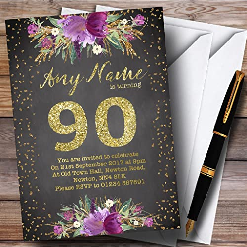 Chalk Watercolour Purple Gold 90th Personalized Birthday Party Invitations
