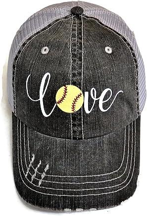 White/Yellow Glitter Softball Love Distressed Look Grey Trucker Cap Hat Sports