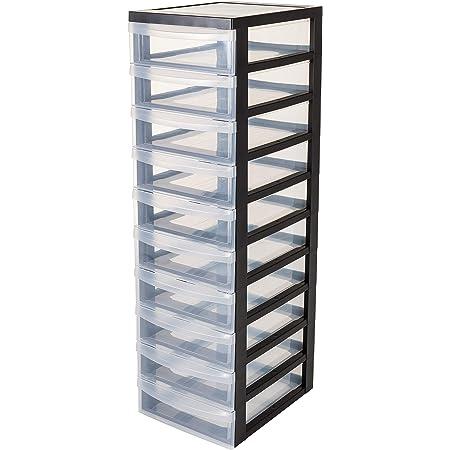 Iris Ohyama, armoire de rangement sur roulettes à 10 tiroirs - Design Chest - DC-010, plastique, noir/transparent, 70 L, 40 x 29 x 100,5 cm
