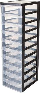 Iris Ohyama, armoire de rangement sur roulettes à 10 tiroirs - Design Chest - DC-010, plastique, noir/transparent, 70 L, 4...