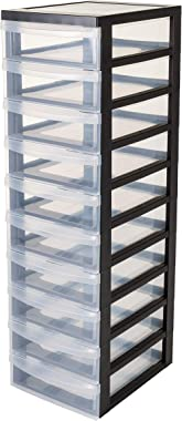 Iris Ohyama 135802 -10 Drawer Storage tower on casters-Design Chest DC-010-Plastic, black/clear, 70 L, 40 x 29 x 100.5 cm, 10