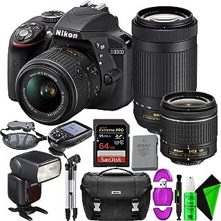Nikon D3300 DSLR Camera with 18-55mm Lens (Black) + Nikon 70-300mm Lens + 64GB PRO Memory Card + GODOX Flash (TTL) with Built-in Receiver + TTL Wireless Transmitter
