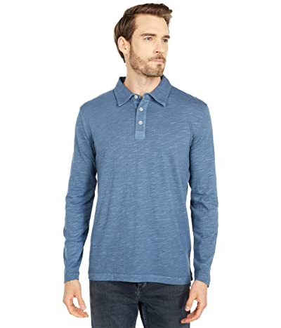 Mod-o-doc Salt Point Long Sleeve Slub Jersey Polo (Smokey Blue) Men