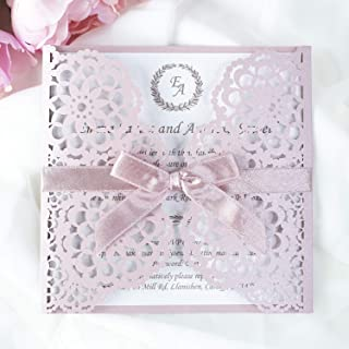 50 CARTE CONFEZIONE Partecipazioni matrimonio taglio laser fai da te inviti matrimonio carta rosa con busta
