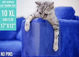 EdenPets Premium Clear Anti-Scratch Cat Double Sided Deterrent Training Tape - (Pre Cut) for Any Furniture & Need - Protect Your Home Fully & Easily. 10 XL Sheets of 17 x 12 Inches - Residue Free