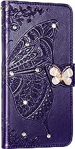 NSSTAR Beschermhoes voor Samsung Galaxy A40, leer, beschermhoes, glitter, strass, vlinder, bloem, met standfunctie, donker...