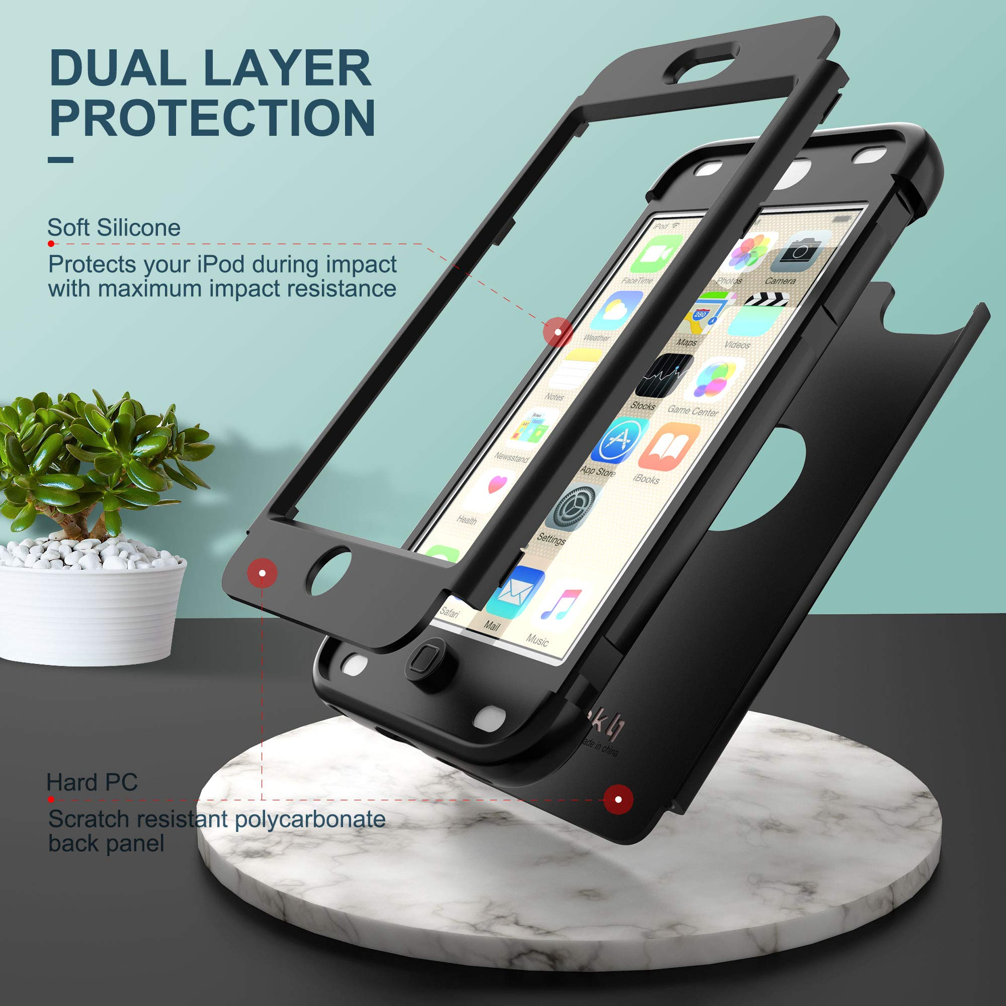 ULAK iPod Touch 7th Generation Case, iPod Touch 6 Case, Heavy Duty Shockproof High Impact Protective Case with Dual Layer Soft Silicone + Hard PC for Apple iPod Touch 7/6/5, Black