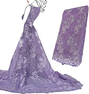 SALAMUTU African French Lace Fabric 5 Yards Nigerian Eco-Friendly Embroidery Lace Fabric with Rhinestones and Beadsfor Party Dress Formal Wedding Dress 5 Colors(Lilac)