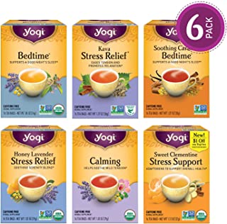 Yogi Tea - Stress Relief and Herbal Tea Variety Pack Sampler - 6 Pack, 96 Tea Bags Total