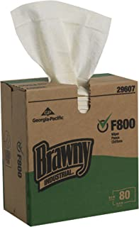 """Brawny Industrial F800 Flax Disposable Cleaning Cloth, White, 29607, 9"""" W x 16.8"""" L, 400 Count, (Case of 5 Boxes, 80 Wipers Per Box)"""