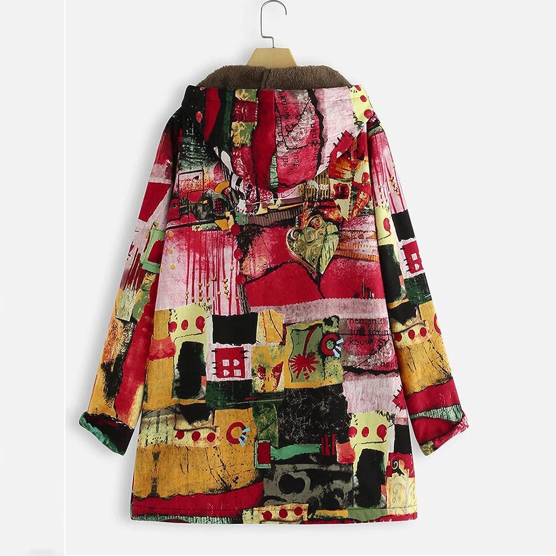 AKAIDE Dicke Baumwolle Jacke für Damen Farbenfrohe Herbst und Winterwärme Weiche Kapuzenjacke mit Langen Ärmeln Mantel Rot 01